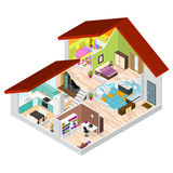 House in Cutaway Isometric View. Vector. House in Cutaway Isometric View Basic Room of Apartment, Section Building with Furniture. Vector illustration Stock Photos