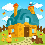 House and cute pets Royalty Free Stock Photography
