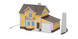 House with cutting saw, 3D Royalty Free Stock Image