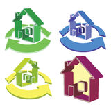 House and cycled arrows icons Royalty Free Stock Image