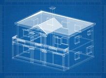 House 3D blueprin. Shoot of the House 3D blueprint Stock Photo