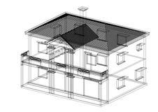 House 3D blueprint - isolatedHouse 3D blueprint - isolated. Shoot of the House 3D blueprint - isolated Royalty Free Stock Images
