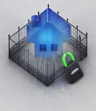 House 3D icon in padlock locked fence concept Royalty Free Stock Images