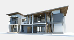 House 3d modern rendering on white background. vector illustration
