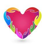 Hands heart logo vector Stock Photos