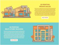 House 3D printing concept vector horizontal banner set. Construction 3D printing vector horizontal banner set. 3d printing private house and multi-storey Stock Image