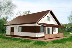 House 3D Render back view Stock Photo