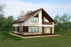 House 3D Render royalty free stock image