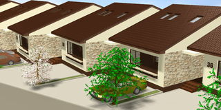 House 3D Render Royalty Free Stock Photo