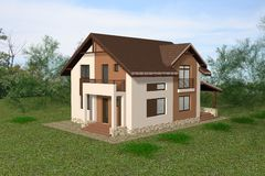 House 3D Render Royalty Free Stock Photos