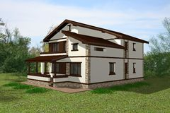 House 3D Render Stock Photo