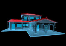 House  (3D xray blue transparent). House (3D xray red and blue transparent isolated on black background Stock Image