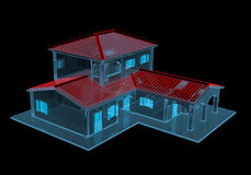 House (3D xray blue transparent). House (3D xray red and blue transparent isolated on black background Royalty Free Stock Images