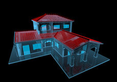 House (3D xray blue transparent). House (3D xray red and blue transparent isolated on black background Royalty Free Stock Photo