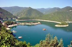 House Dam. Fish farm located at mountain dam in Bulgaria Stock Image