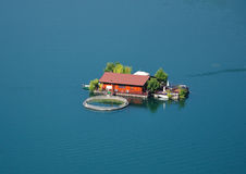 House Dam. Fish farm located at mountain dam in Bulgaria Stock Images