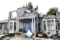 House damaged by disaster Royalty Free Stock Images