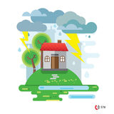House damaged by a fallen tree,  vector illustration, no transparencies Stock Photos
