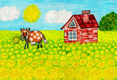 House with dandelions, painting Royalty Free Stock Image