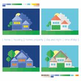 House day and night. stock photo
