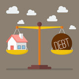 House and debt balance on the scale. Business Concept Stock Images