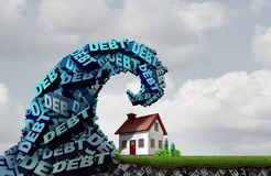House Debt Financial Danger. House debt home finances and credit problems challenge and economic family residence costs as a 3D illustration Royalty Free Stock Photos