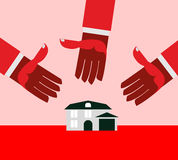 House for debt. Red hands. Royalty Free Stock Image