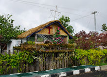 House decorated before Christmas, Papua Province, New Guinea isl Royalty Free Stock Image