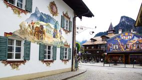 House decorated by frescoes. Oberammergau Stock Photos