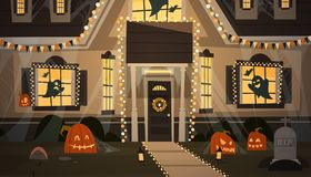 House Decorated For Halloween Home Building Front View With Different Pumpkins, Bats Holiday Celebration Concept. Flat Vector Illustration Stock Images