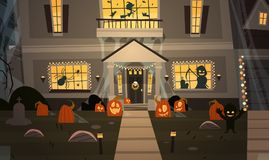 House Decorated For Halloween Home Building Front View With Different Pumpkins, Bats Holiday Celebration Concept. Flat Vector Illustration Royalty Free Stock Images