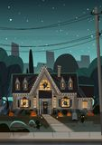 House Decorated For Halloween Home Building Front View With Different Pumpkins, Bats Holiday Celebration Concept. Flat Vector Illustration Royalty Free Stock Photos