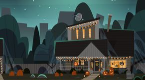 House Decorated For Halloween Home Building Front View With Different Pumpkins, Bats Holiday Celebration Concept. Flat Vector Illustration Royalty Free Stock Image
