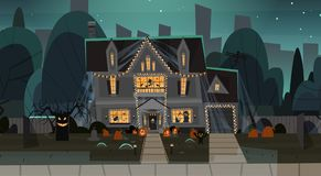 House Decorated For Halloween Home Building Front View With Different Pumpkins, Bats Holiday Celebration Concept. Flat Vector Illustration Stock Photos