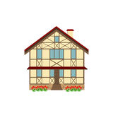 House decorated in style half-timbered framework, illustration Royalty Free Stock Photos