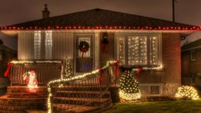 House Decorated With Lights For Christmas Stock Photo