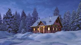 House decorated for Xmas at snowfall winter night royalty free illustration