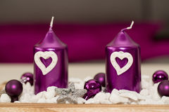 House decoration with aromatic candle violet color Royalty Free Stock Photo