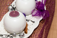 House decoration with aromatic candle violet color Stock Photo
