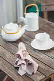 House decoration detail table tea set Royalty Free Stock Photos
