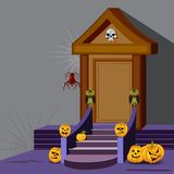 House decoration with pumpkin for Halloween night Royalty Free Stock Photo