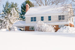 House in deep winter snow Stock Photography