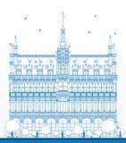 House del esquema de rey Bruselas, Bélgica stock de ilustración