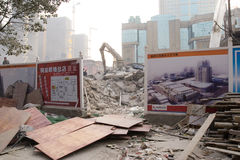 House demolish  in city. A lot of houses are demolished in developing country, for building  new houses.Place:Wuhan,China Time:15/01/2010 Royalty Free Stock Photo