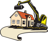 House Demolition Building Removal. Illustration of a house demolition and building removal concept showing a house with construction digger mechanical excavator Stock Photo
