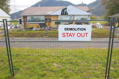 House Demolition and Sign Royalty Free Stock Photos