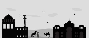 House in the Desert and camel. Vector Illustration Royalty Free Stock Images