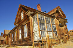 House in Desert Ghost Town 2. Resident Structure in California High Desert located at Bodie Ghost Town with Glass Porch Royalty Free Stock Photos