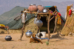 House in the desert , India Stock Photos