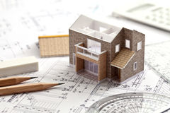 House, design, drawing. Model and a design for a house building your own Stock Image